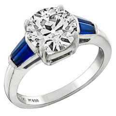Platinum Diamond And Sapphire Engagement Rings
