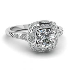 Square Double Halo Engagement Rings
