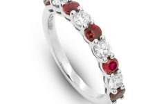 Ruby And Diamond Eternity Bands In Platinum