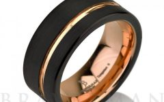 Tungsten And Rose Gold Wedding Bands