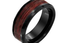 Mens Wedding Bands With Wood Inlay