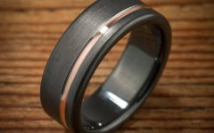 Black and Rose Gold Men's Wedding Bands