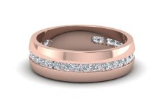 Rose Gold Men's Wedding Bands With Diamonds