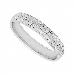 White Gold Diamond Cut Wedding Rings