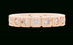 Champagne and White Diamond Edge Anniversary Bands in Rose Gold