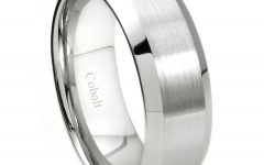 Satin Center Bevel-Edged Wedding Band In Cobalt