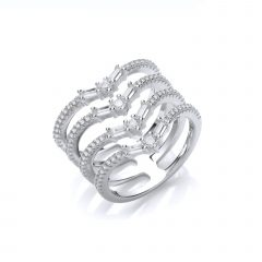 Diamond Four Row Anniversary Bands In Sterling Silver