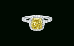 Cushion-cut Yellow Diamond Micropavé Rings