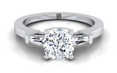 Cushion-cut Engagement Rings with Tapered Baguette Side Stones