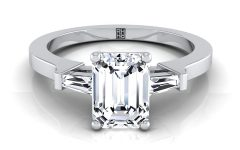 Emerald-cut Engagement Rings with Tapered Baguette Side Stones