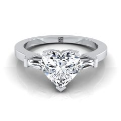Heart-Shaped Engagement Rings With Tapered Baguette Side Stones