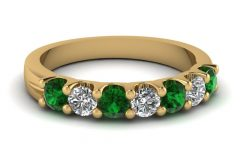 Emerald and Diamond Seven Stone Wedding Bands in 14k Gold