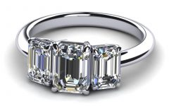 Emerald Cut Three Stone Diamond Engagement Rings