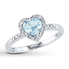 Diamond Aquamarine Engagement Rings