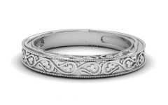Diamond Vintage-Style Contour Wedding Bands In 14K White Gold