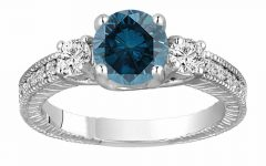 Enhanced Blue Diamond Vintage-style Anniversary Bands in White Gold