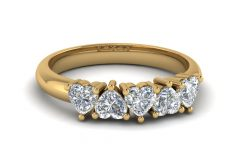Diamond Heart-shaped Anniversary Bands in Gold