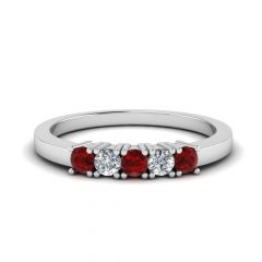 Ruby And Diamond Five Stone Anniversary Bands In 14K White Gold