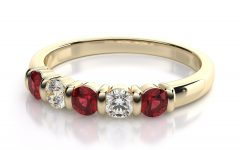 Lab-created Ruby Five Stone Anniversary Bands