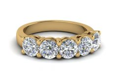 Diamond Five Stone Anniversary Bands in Gold
