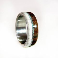 Horn Inlay Titanium Wedding Bands