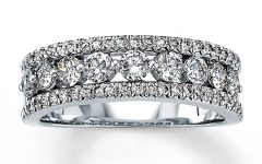 Baguette and Round Diamond Weaved Anniversary Rings in White Gold