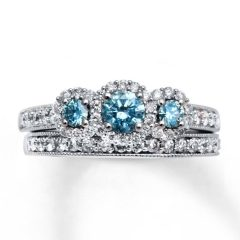 Blue Diamond Wedding Ring Sets