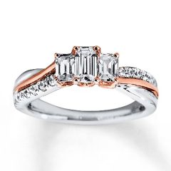 Emerald Cut Diamond Anniversary Rings