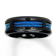 Men's Black And Blue Wedding Bands