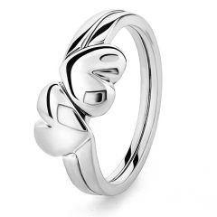 Polished Heart Puzzle Rings