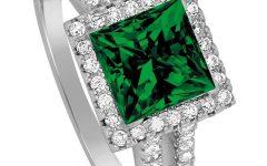Princess Cut Emerald Engagement Rings