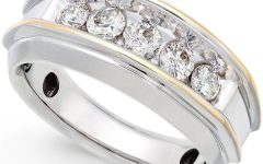 Diamond Five Stone Bands In 10K Two-Tone Gold