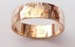 Hammered Rose Gold Mens Wedding Bands