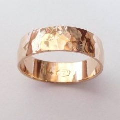 Hammered Rose Gold Wedding Bands
