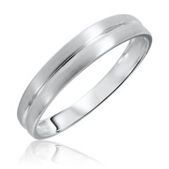 Men White Gold Wedding Band