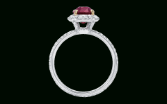 Oval-shaped Ruby Micropavé Rings