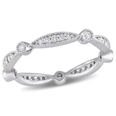 Diamond Alternating Vintage-Style Eternity Wedding Bands In 10K White Gold