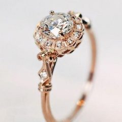 Vintage Style Rose Gold Engagement Rings