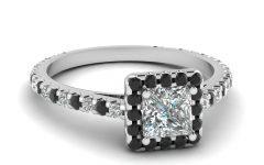 Black And White Princess Cut Diamond Engagement Rings