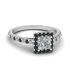 Black And White Princess Cut Diamond Engagement Rings