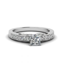 Princess-Cut Diamond Frame Vintage-Style Twist Bridal Rings In 14K White Gold