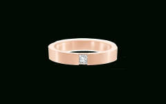 Princess-Cut Single Diamond Wedding Bands In Rose Gold