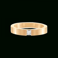 Princess-Cut Single Diamond Wedding Bands In Yellow Gold