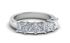 Princess-cut Diamond Five Stone Anniversary Bands in White Gold