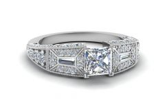 Vintage Style Princess Cut Diamond Engagement Rings