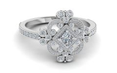 Diamond Flower Vintage-Style Engagement Rings In 14K White Gold