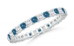 Enhanced Blue and White Diamond Anniversary Bands in White Gold
