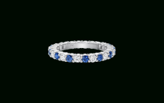 Prong-set Round Brilliant Sapphire and Diamond Wedding Bands