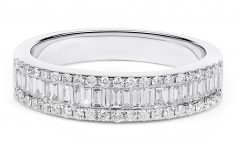 Round and Baguette Diamond Anniversary Bands in White Gold