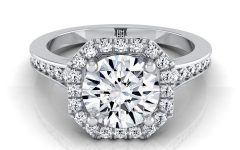 Diamond Octagon Frame Vintage-style Engagement Rings in 14k White Gold
